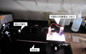 実験用の光電気化学蓄電池(PEC)による実験風景